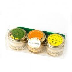 Набор подарочный Медовый цитрус (лимон и имбирь, апельсин, лимон), Вкуснолето, 3х35 гр