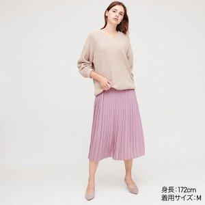 Длинная юбка из плиссированного шифона (стандартная длина 80-84см),пурпурный