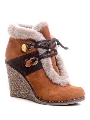 Ботинки Страна производитель: Китай Полнота обуви: Тип «F» или «Fx» Сезон: Зима Материал верха: Замша Каблук/Подошва: Танкетка Высота каблука (см): 10 Стиль: Городской Форма мыска/носка: Круглый Цвет: