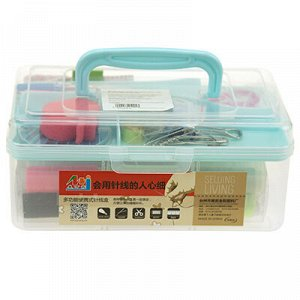 Набор для шитья 43 предмета: цветные нитки - 30 штук, ножницы, булавки, иголки, сантиметр, наперсток, нитковдеватель, кусачки, распарыватель швов, карандаш, пуговицы, игольница, зажим, шило, в пластма
