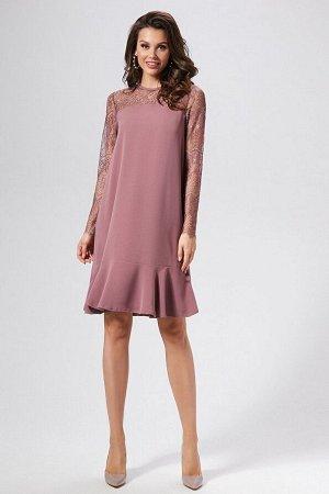 Платье Состав 100% ПЭ Платье (длина по спинке - 96 см, длина рукава - 66 см, цвет: сиреневый) - А-образного силуэта, горловина круглая на обтачке с застежкой на навесную петлю и пуговицу по спинке; -