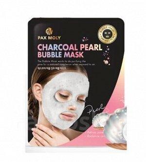 Пузырьковая тканевая маска с углем и жемчугом Pax Moly