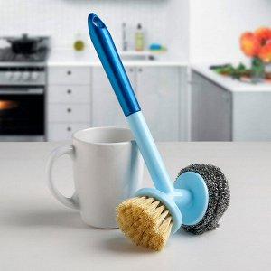 Щётка для мытья посуды 2 в 1 Доляна, 25?12?6,5 см, цвет МИКС