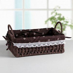 Корзина для хранения плетёная Доляна «Маргаритки», 25?17?9 см, цвет коричневый