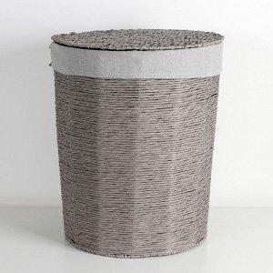 Корзина универсальная плетёная с крышкой Доляна «Классик», 43?43?53 см, цвет серый