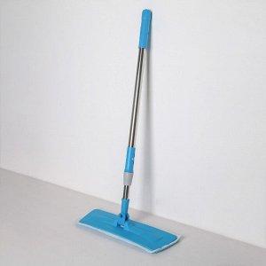 Швабра плоская Доляна, телескопическая стальная ручка 79-120 см, насадка из микрофибры 38?11 см, цвет голубой