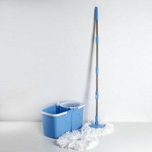 Набор для уборки: ведро складное с пластиковой центрифугой 10 л, швабра, запасная насадка из микрофибры, дозатор