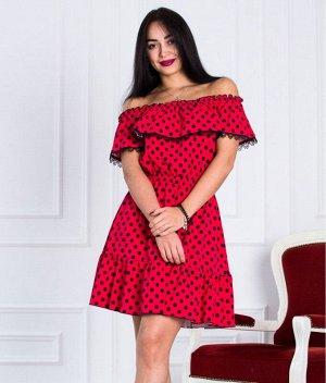 Платье Д463 (горох на красном)