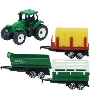Игровой набор тракторов с прицепами Farm World, 3 шт