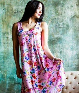 Сарафан Д25 (цветы на розовом)