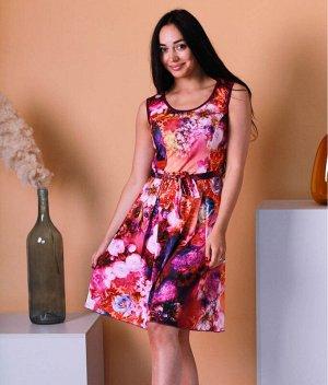 Сарафан Д23 (розово-фиолетовые цветы)
