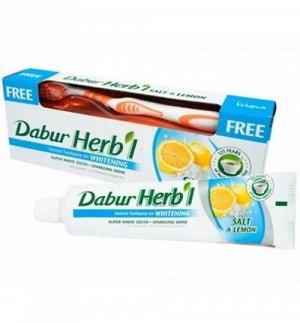 DABUR HERB'L Toothpaste SALT & LEMON/ Зубная паста соль и лимон + зубная щётка ср. Жесткости 150г.