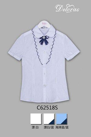 Блузка Короткий  рукав Белый/Синий.