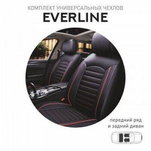 Чехлы (накидки) CARFORT Everline, экокожа, комплект, черный с красной прошивкой