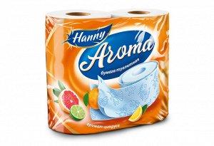 "Туалетная бумага HANNY ""Aroma Citrus"", 2 слоя, 4 рулона, 21,87 метра"