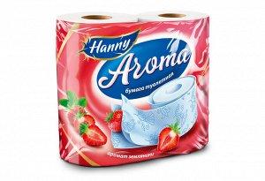 """Туалетная бумага HANNY """"Aroma Strawberry"""", 2 слоя, 4 рулона, 21,87 метра"""