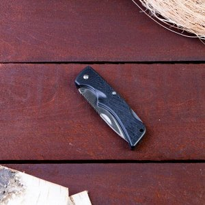 Нож перочинный лезвие 7см, рукоять черная Полосы, фиксатор 16см