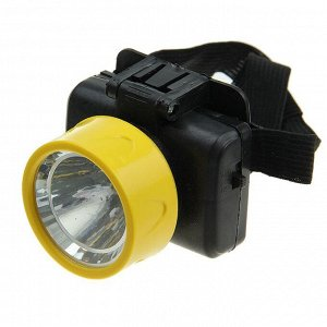 """Фонарь налобный """"Компакт"""", 1 LED, 2 режима, сверхмощный, 1 W, 3 АА, микс, 6х7х9 см"""