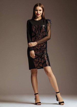 Платье Платье GlasiO 5780  Состав ткани: ПЭ-97%; Эластан-3%;  Рост: 164 см.  Прямого кроя платье из «барби», с отделкой из пайеток и перьев.. Перед ассиметричный, рукав один из бархата, д