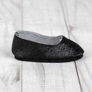 Туфли для куклы «Блёстки», длина стопы: 7 см, цвет черный
