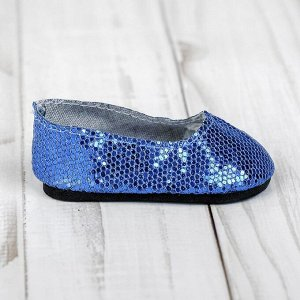 Туфли для куклы «Блёстки - кругляши», длина стопы: 7 см, цвет синий