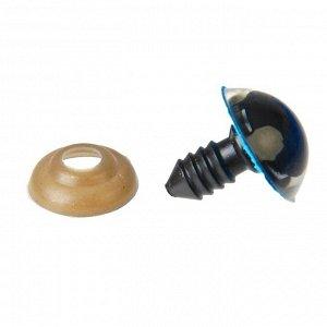 Глаза винтовые с заглушками, «Блёстки» набор 30 шт, размер 1 шт: 1,6 см, цвет голубой