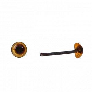 Глаза стеклянные на металлической ножке, набор 74 шт, d= 0,4 см, цвет коричневый