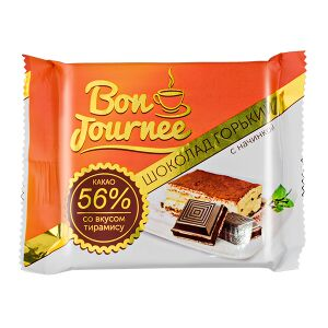 Шоколад Спартак Bon Journee Горький 56% с начинкой со вкусом тирамису 80 г 1 уп.х 29 шт.