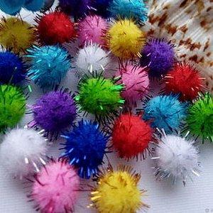 Помпоны акриловые с люрексом 2см разноцветный