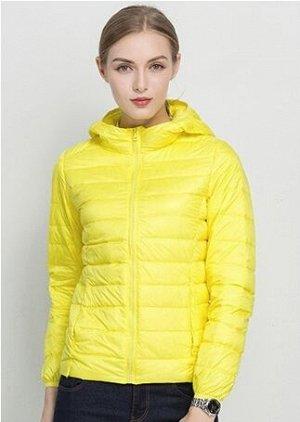 Ультралегкая женская куртка с капюшоном, цвет желтый