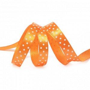 Лента атласная Ideal арт.LDAG66802912 (58) горошек 12мм цв.оранжевый-белый уп.27,4м