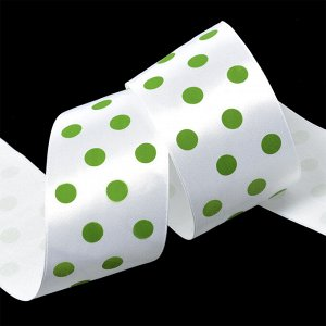 Лента атласная Ideal арт.LDAG02957950 (21) горошек 50мм цв.белый-зеленый уп.27,4м
