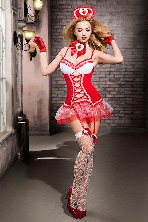 Костюм медсестры Candy Girl Gesabelle (платье,перчатки,стринги,чулки,чокер,головной убор,банты), OS