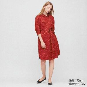 Платье-рубашка из искусственного шелка,красный