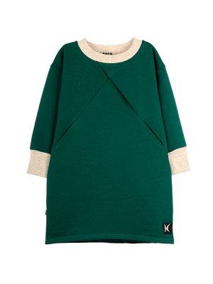 Платье Состав: хлопок 80%, полиэстер 20%  Платье с длинным рукавом на манжете увеличенного размера, спереди декоративная складка исходящая из горловины в боковой шов, в котором находятся карманы. Изго
