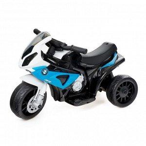 Электромотоцикл BMW S1000 RR, кожаное сидение, цвет синий