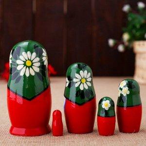 Матрёшка «Ромашки в корзинке», зелёный платок, 5 кукольная, 10 см