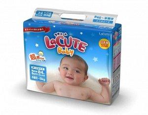 Детские подгузники для новорожденных LaCUTE Baby Diapers, NB до 5 кг, 84 штуки/упаковка (производство Япония)