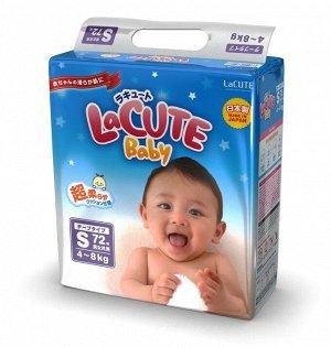 Детские подгузники LaCUTE Baby Diapers, S 4-8 кг, 72 штуки/упаковка (производство Япония)
