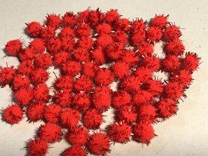 Помпоны акриловые с люрексом 1 см 100 шт