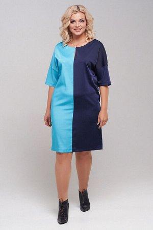 Платье Контрастное платье прямого силуэта из плательно-костюмной ткани. Круглая горловина переходит в разрез по переду,застегивающийся на крючок. Спущенная линия плеча с рукавом ,прикрывающим локоть.