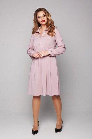 Платье Нежное нарядное платье из тонкого и прозрачного шифона. Платье полуприлегающего силуэта, с втачным рукавом и отложным рубашечным воротником. Платье отрезное по линии талии, собрано на резину. П