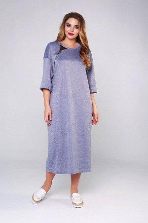 """Платье Женское платье длины """"midi"""" из теплого, мягкого и пластичного трикотажа. Платье свободного силуэта, со спущенным плечом и рукавом с отложной манжетой. Перед платья с декоративным элементом, сос"""