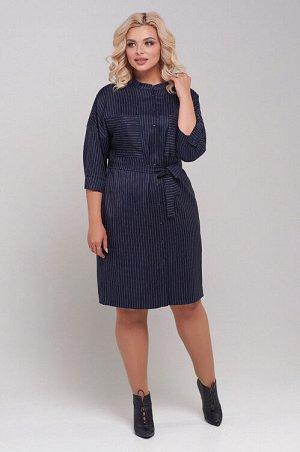 Платье Платье рубашечного типа из костюмной ткани прямого силуэта.Спущенная линия плеча с втачным рукавом на манжете,обеспечивает максимальный комфорт.Центральная застежка на петли-пуговицы. Воротник-