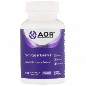 Advanced Orthomolecular Research AOR, Zinc-Copper Balance, 100 вегетарианских капсул