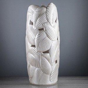 """Ваза напольная """"Лист"""". белый. 64 см. керамика"""