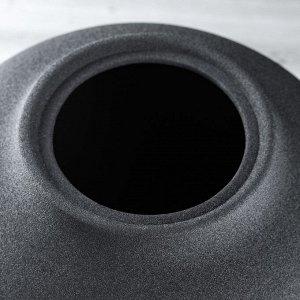 """Ваза настольная """"Велеса"""". муар. чёрная. 26 см. керамика"""