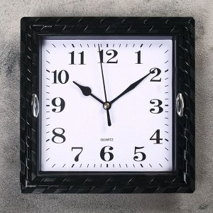 """Часы настенные. серия: Классика. """"Плетёнка"""". квадратные. черные  21х21 см"""