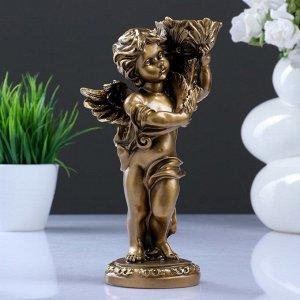 """Подсвечник """"Ангелочек"""" в левой руке. золото 14х8х22см"""