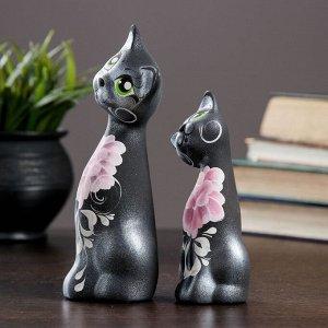 """Фигура """"Love Коты"""" ушастые 6?7?17см черные серебро (набор 2 шт) 215"""